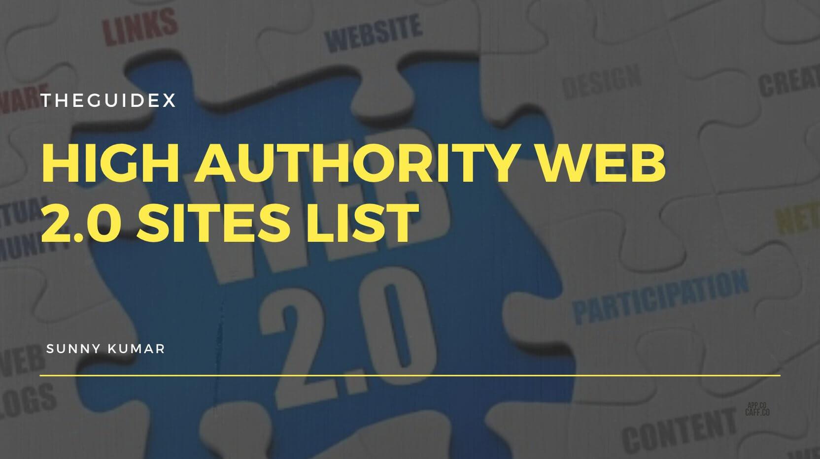 Web 2.0 Site List, Web 2.0 Submission Sites